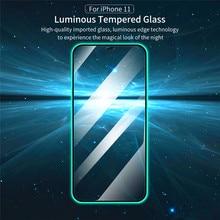 1-2 sztuk świecące świecące ochraniacz ekranu szkło hartowane dla Iphone 12 11 Pro Max Mini XR X XS 7 8 Plus SE 2020 szkło ochronne