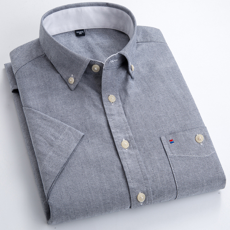 Mens Short Sleeve Shirts Slim Fit 100% Cotton Oxford Casual Business Shirt Men's Pocket Formal Button Down Shirt Working Clothes