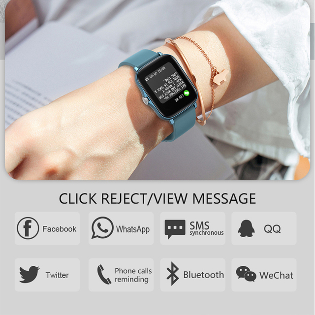 MAFAM  P8 Plus 1.69 inches Smart Watch Men Women Full Touch Fitness Tracker Waterproof Smartwatch 2021  For huawei xiaomi phone 5