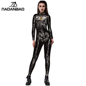 Image 2 - NADANBAO Neue Rose Skeleton Kostüm Overall 3D Drucken Scary Halloween Kostüme Für Frauen Mechanische Schädel Plus Size Body