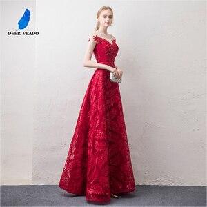 Image 4 - DEERVEADO קצר שרוולים ערב שמלות ארוך אישה אירוע מסיבת שמלות רשמיות שמלת ערב שמלת חלוק דה Soiree XYG822
