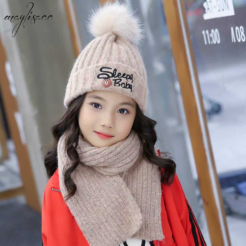 2019 New Arrival Maylisacc 6-14 Years Old Autumn Winter Warm Acrylic Knitted Hat Scarf 2pcs Sets Boys Girls Winter Beanies Sets
