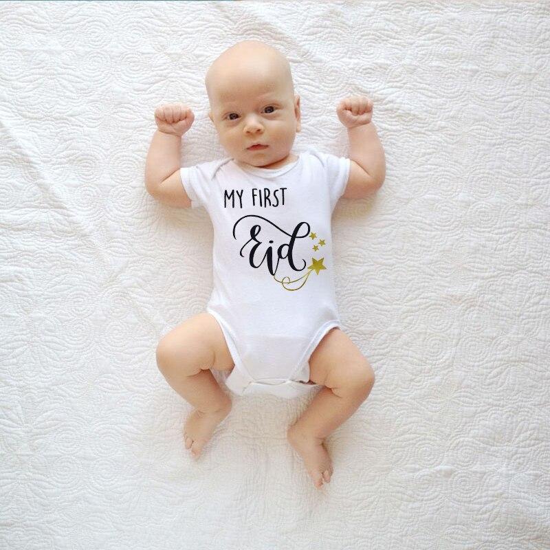 2020 nowe dziecko kombinezon z krótkim rękawem Caasual list drukuj mój pierwszy Eid dziewczyna śpioszki dla chłopców noworodka ubrania dla dzieci prezenty dla noworodka