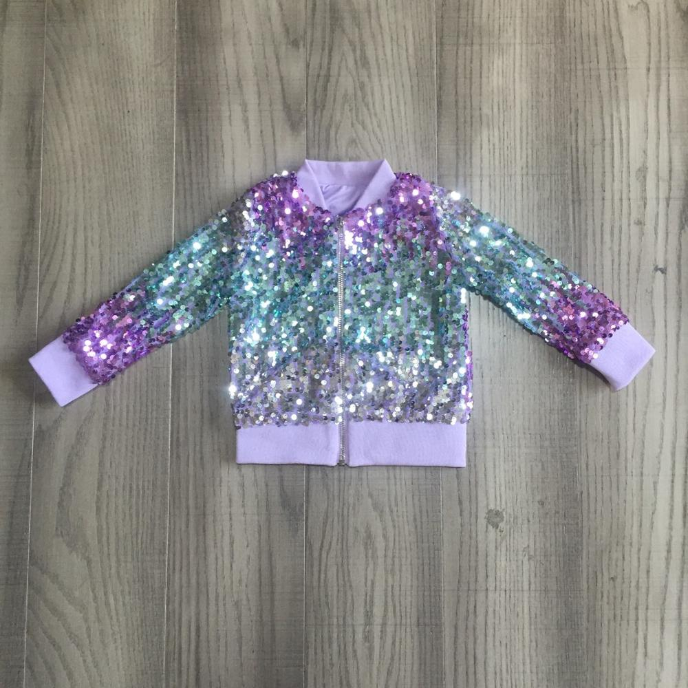 Girlymax Fall/winter outfits baby girls violet hot pink tie dyed sequins zipper coat cotton clothes children top cotton boutique 3