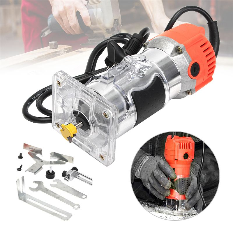 6mm 220V 300W  Trim Router 30000RPM 1/4 Bit Woodworking Edge Banding Molding Machine US Plug  Tool