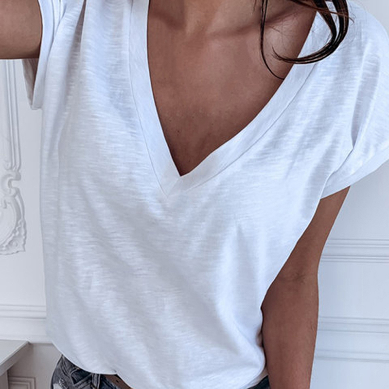GAOKE White Summer T Shirt Women Casual Womens Tee Shirts V-neck Tshirt Pus Size XL Short Sleeve T-shirt Ladies Women Clothings