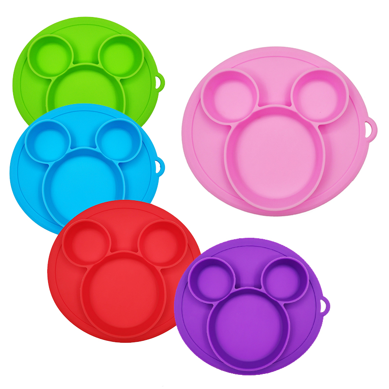 Baby Safe Silicone Dining Plate BPA Free Solid Children Dishes Suction Toddle Training Tableware Cute Cartoon Kids Feeding Bowls