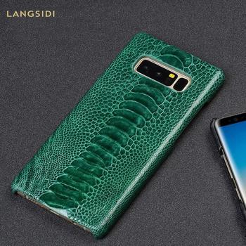 Natural ostrich skin Genuine Leather protective case for Samsung Galaxy S10 s9 s8 s7 For a70 a50 a40 a30 a8 a7 2018 note 10 8 9