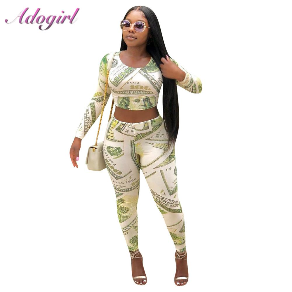 Suit Female Outfit Pencil-Pants T-Shirt Money Neck-Crop-Top Dollar-Print Two-Piece-Set title=