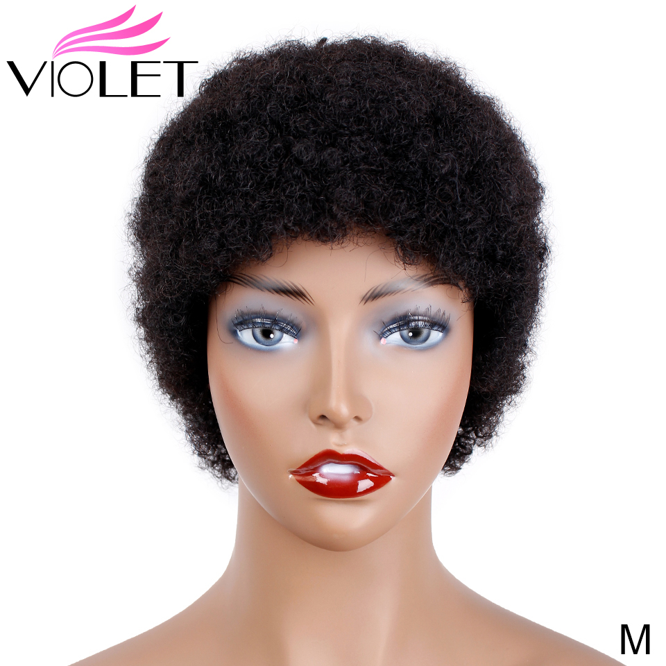 VIOLET Peruvian Short Curly Wig Middle Ratio 4 Inch Non-Remy Human Wig For Black Women 100% Short Human Wig Natural Color