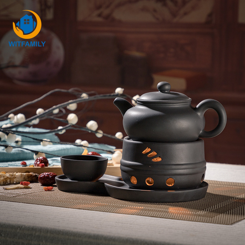 Vintage Ceramic Teapot Heating Base Coarse Pottery Tea Cup Warmer Heater Stove Tea Pot Base Candle Holder Japanese Teaware Warm