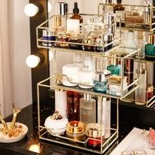 Caja de almacenamiento giratoria nórdica para cosméticos organizador de maquillaje transparente, bandeja de 2 gradas de vidrio, tocador, estante de acabado
