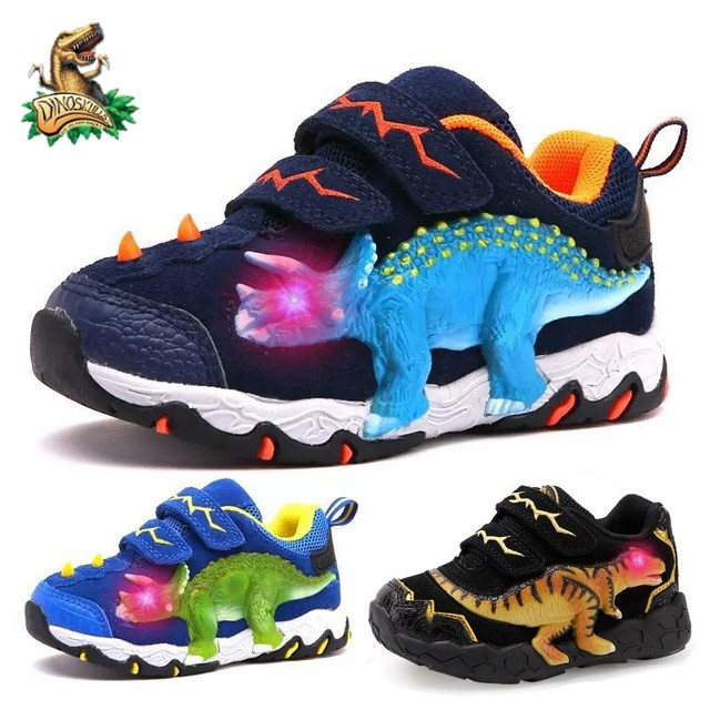 DINOSKULLS 3-10 Boys Autumn Shoes Dinosaur LED Glowing Sneakers 2020 Children's Sports Shoes 3D T-rex Kids Genuine Leather Shoes 1
