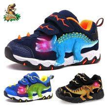 Dinoskulls 3-8 Jungen Herbst Winter Schuhe Dinosaurier LED Glowing Turnschuhe 2020 Kinder Sport 3D T-Rex Kinder echtes Leder Schuhe
