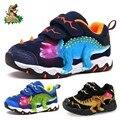 Dinoskulls 3-8 Jungen Schuhe Dinosaurier LED Glowing Turnschuhe Frühling Herbst Kinder Sport 3D T-Rex Mode Kinder echtes Leder Schuhe