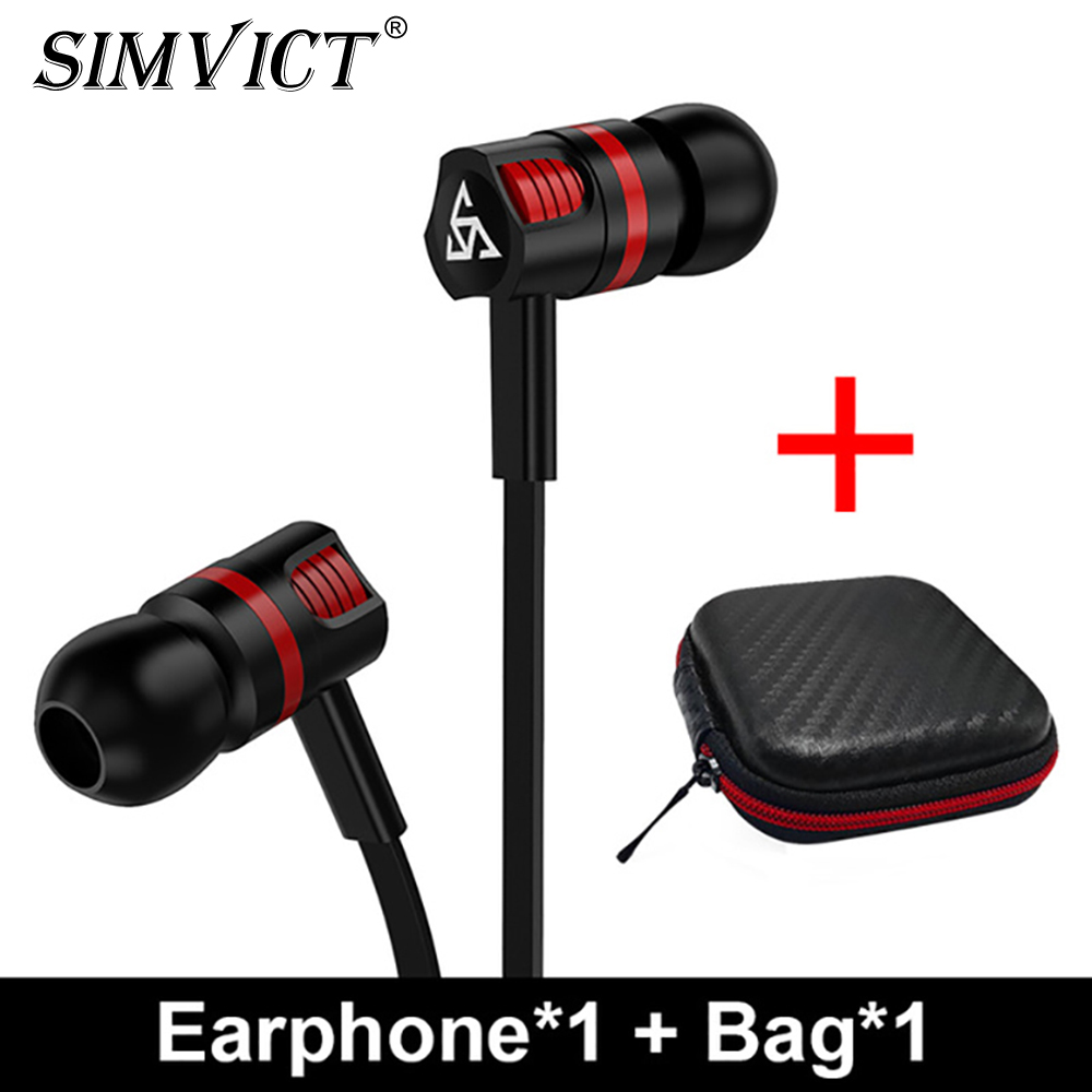 Simvict In-ear Wired Earphones Super Bass Earphone Headphones With Mic Stereo Wired Headset Music Bass Earbuds for Phone Iphone 1