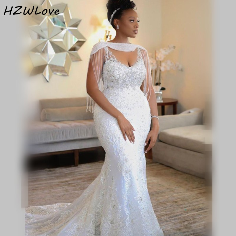 African Mermaid Wedding Dresses With Shrug Tassels Sequins Deep V Neck Mermaid Wedding Dress Plus Size Lace Vestido De Noiva