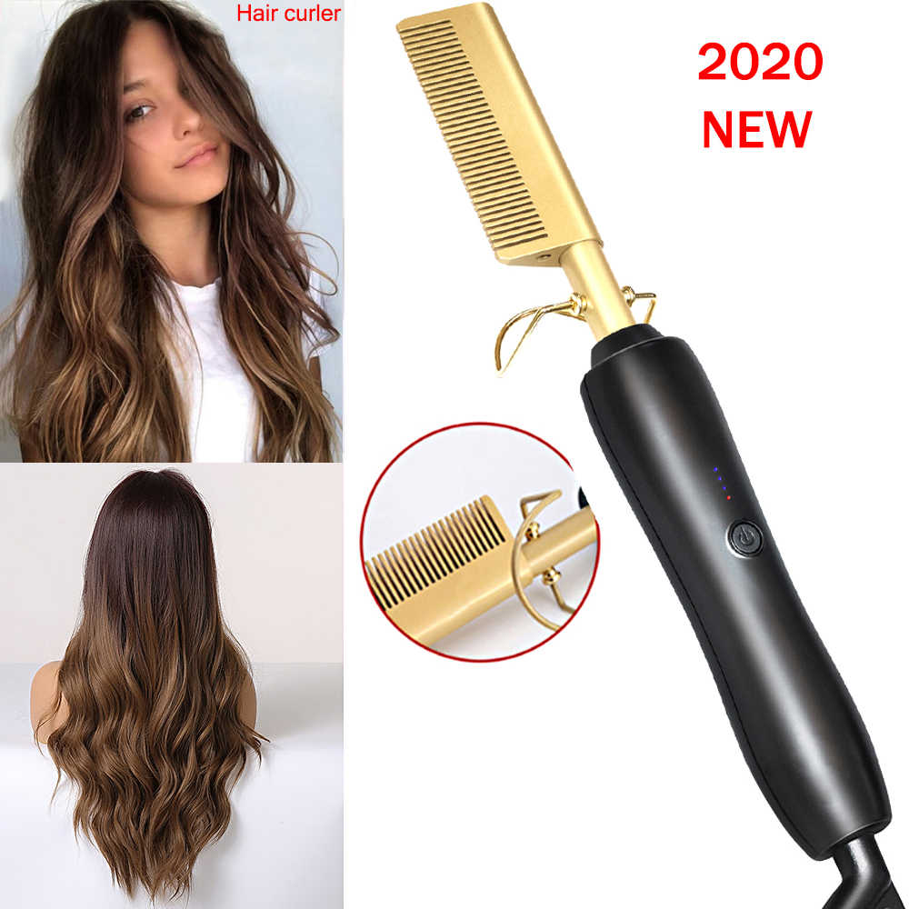 Electric Comb Environmentally Friendly Titanium Alloy Hair Curler Comb Hot Straightening Hair Curling Iron Straightener Comb