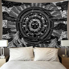 India Mandala Tapestry Wall Hanging Sun Moon Tarot Wall Tapestry Wall Carpet Psychedelic Tapiz Witchcraft Wall Cloth Tapestries(China)