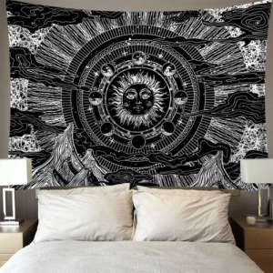 Mandala Tapestry Wall-Carpet Tarot Psychedelic Tapiz Witchcraft India Sun-Moon