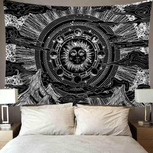 Indie Mandala gobelin ściany wiszące słońce księżyc Tarot gobelin ścienny wykładzina ścienna psychodeliczny Tapiz czarów tkanina ścienna gobeliny