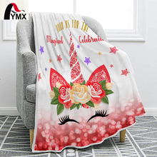 FYMX Cartoon Blanket Unicorn Printing Charming Eyes Beautiful Flowers Warm And Comfortable Give Child The Best Birthday Present