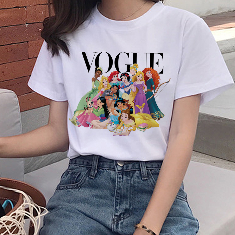 Vogue Harajuku T Shirt Summer Graphic Ullzang T-shirt Korean Kawaii Streetwear Tshirt 90s Funny Princess Cartoon Top Tees Female