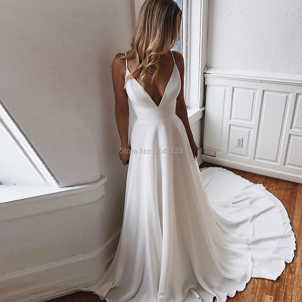 Sexy Deep V Neck Wedding Dresses 2020 A Line Satin White Applique Backless Bridal Gown Sleeveless Straps Sweep Train Bride Dress