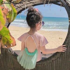 Купальник для девочек, Новинка лета 2020, Цельный купальник, детское бикини, купальный костюм, пляжный костюм, детские купальники