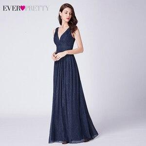 Image 3 - Étincelle robes de bal longue jamais jolie a ligne Double col en v sans manches pas cher en mousseline de soie robes formelles robes de soirée élégantes robes