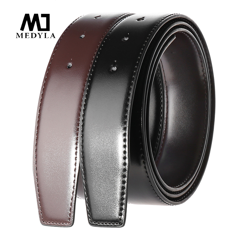 MEDYLA Natural Leather Belt Without Buckle DIY Assembly Use On Both Sides Business Belt For Men Hard Metal Pin Buckle Suit Belt