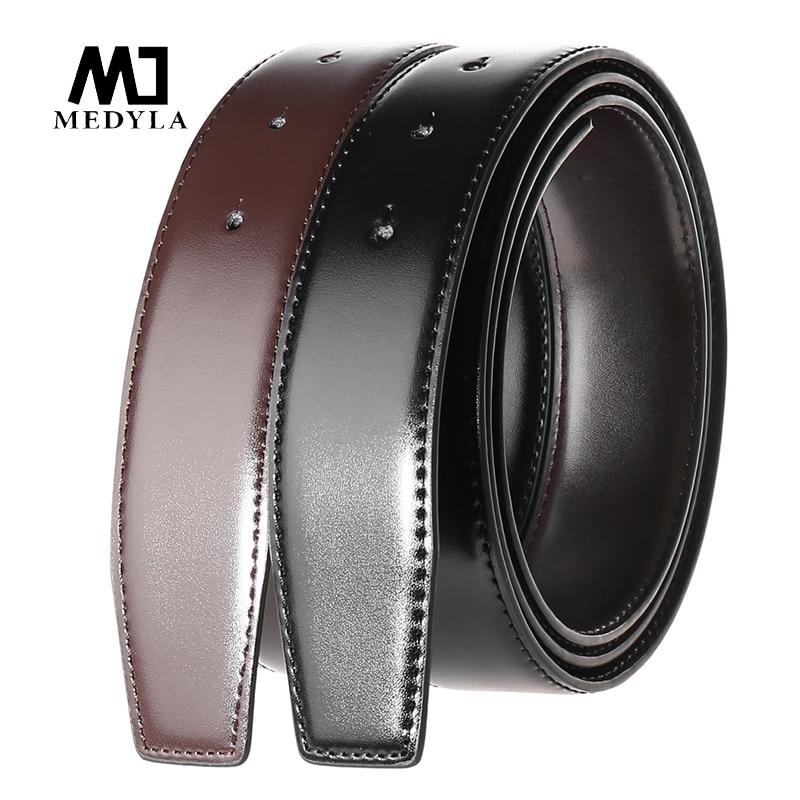 MEDYLA Natural Leather Belt Without Buckle DIY Assembly Use On Both Sides Business Belt For Men Hard Metal Pin Buckle Suit Belt