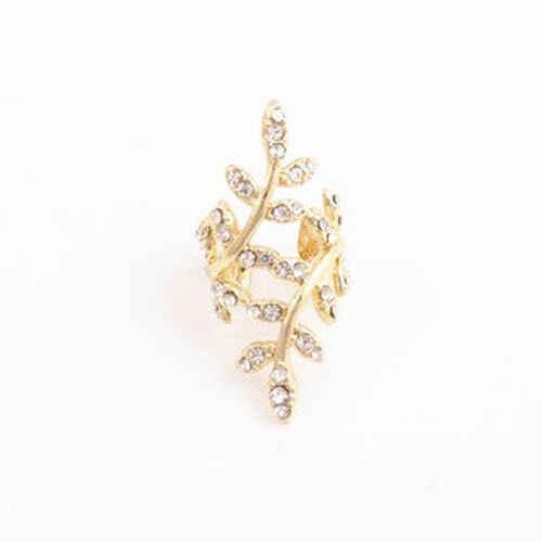 ใหม่เงินทองต่างหู Punk Leaf คริสตัล Rhinestone ดอกไม้หู Cuff Wrap ต่างหูกวาด Climber หูคลิป