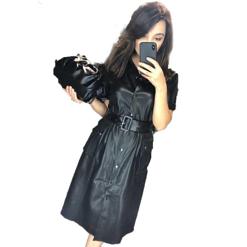 Agong Thắt Dây Eo Đầm Nữ Thời Trang Chắc Chắn Mỏng Da PU Đầm Nữ Túi Thanh Giữa Bắp Chân Váy Nữ Nữ JL