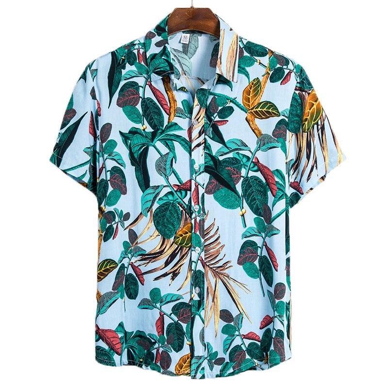 Aoliwen Brand Men's Contrast Printing Short Sleeve Shirt Summer Hawaiian Style Beach Short Sleeve Shirt Men's Casual Shirt Top
