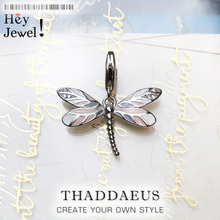 Dragonfly Pink Charms Pendant Europe DIY Jewelry Findings Accessories 925 Sterling Silver Fashion Jewelry Gift For Women Girl