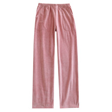 Sleep-Bottoms Home-Pants Striped Autumn Corduroy for Lovers Stretch Winter Thick-Style