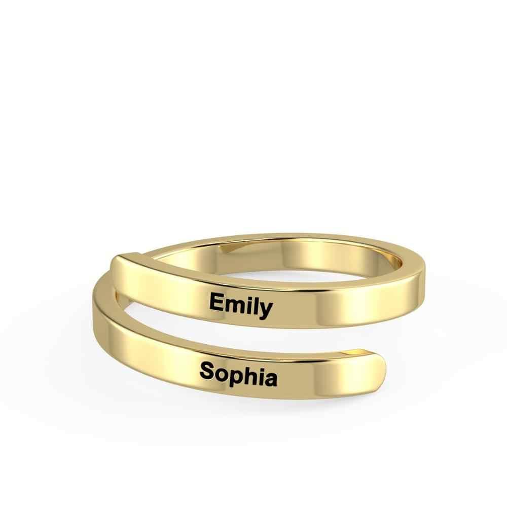 Spersonalizowany regulowany grawerowany dwa pierścionek z imionami 3 kolory niestandardowe obietnica pierścionki dla kobiet mężczyzn biżuteria rocznicowa BBF