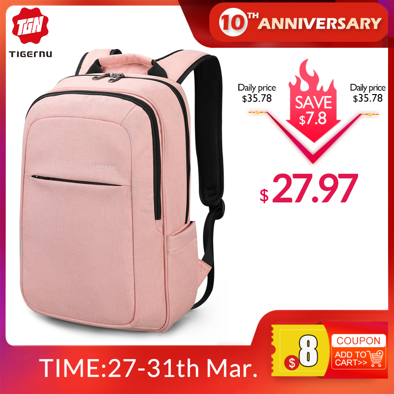 Tigernu Antifouling Lightweight College Laptop Backpack Water Resistant Fit For 15.6'' Computer USB Charging Mochilas Men Women