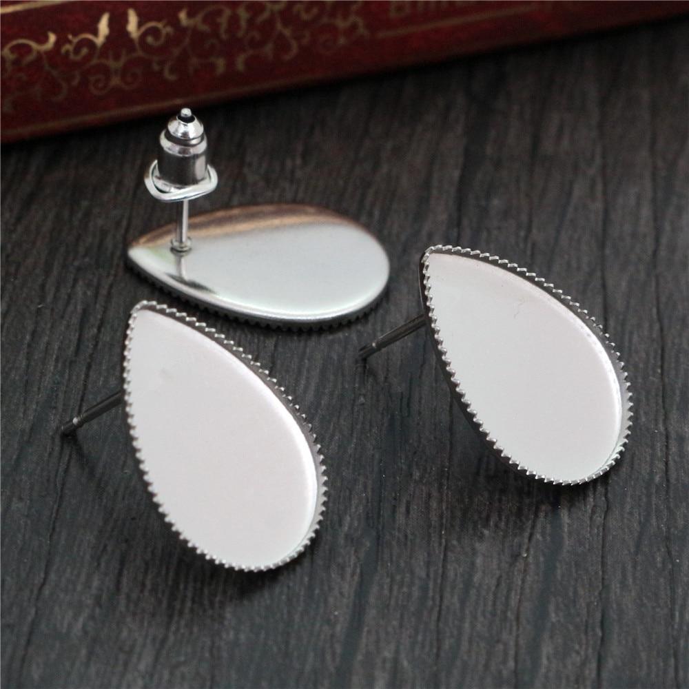 ( No Fade ) 13x18mm 20pcs/Lot 316 Stainless Steel Drop Earring Studs,Earrings Blank/Base,Fit 13*18mm Drop Glass Cabochons-T7-24