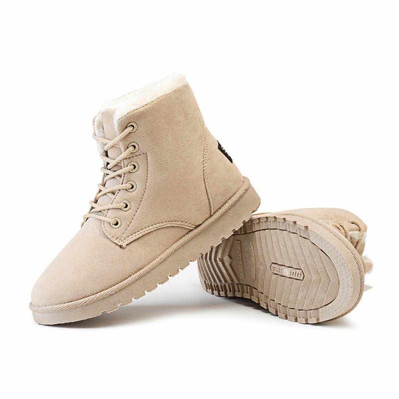 YAERNIClassic kışlık botlar kadın kar ayak bileği süet çizmeler sıcak kürk peluş astarı kadınlar için yüksek kaliteli dantel-up kadın çizmeler