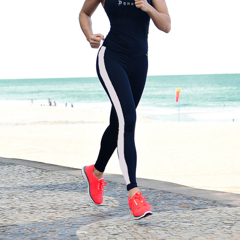 Women's Pants Running Fitness High Waist Leggings Gym Sports Striped Black Slim Long Pants Compression Trousers