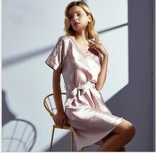 Шелковая ночная рубашка женская летняя 100% свободная фотоодежда