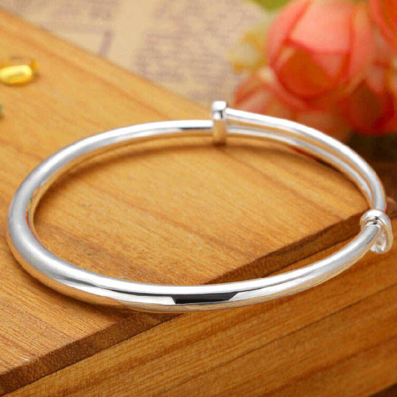 silver  bracelet for Women Fashion Round Bangle Bracelet Femme Wristband Beleklik jewelry adjustable bangle anillos silver