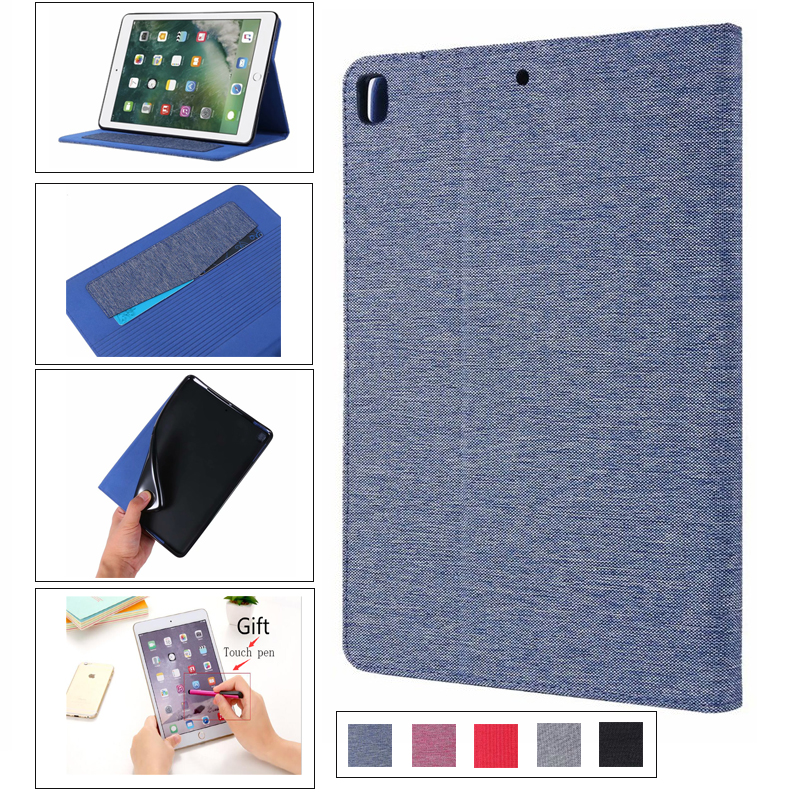 Flip stand pu + Soft protective case For <font><b>ipad</b></font> 5 6 Air 1 2 Business Cloth Holster For new <font><b>ipad</b></font> <font><b>2017</b></font> 2018 <font><b>9.7</b></font> inch Cover + pen image