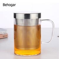 Behogar 500 мл стеклянная сетка для процеживания чайной чашки прозрачное стекло высокая термостойкость чайная чашка с ситечком для домашнего оф...