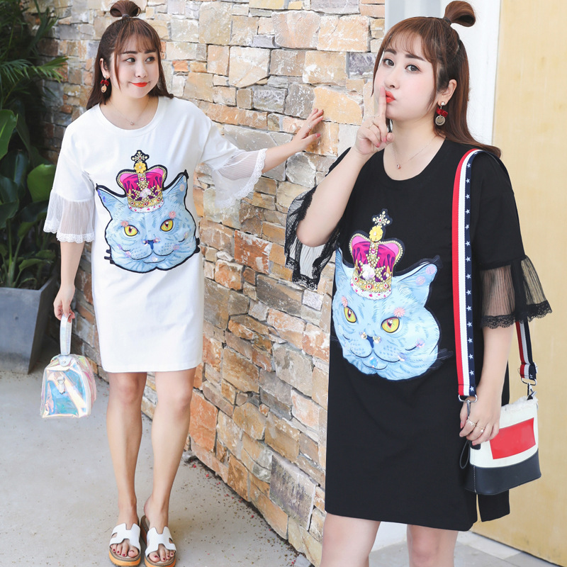 Summer New Products Large Size Dress By Age T-shirt Dress Cat Queen Long T-shirt Cool Trend Fat MM1167