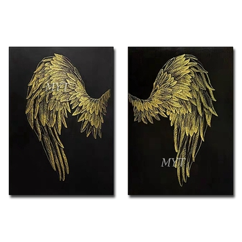 Creative Hand-painted Abstract Gold Wings Oil Painting Pictures 2 Pieces Canvas Wall Art Living Room Decor Paintings No Frame