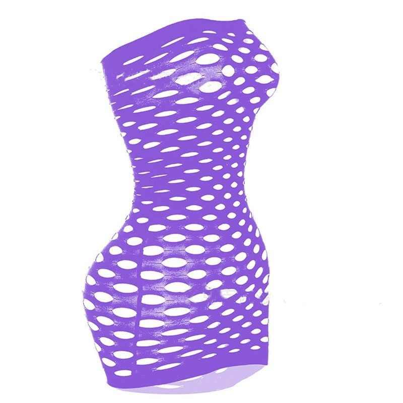新しい女性のセクシーなランジェリーネットスカート全身中空アウト網タイツセクシーな弾性ランジェリーミニドレスランジェリープラスサイズ