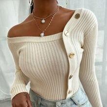 Женский свитер на одно плечо облегающий пуловер с длинным рукавом